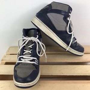Nike Air Jordan high top navy and grey sneakers